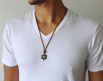 Mens Star of David Necklace Mens Star of David Pendant Necklace hanukkah Jewelry Mens Jewish Jewelry Judaica Hebrew Jewelry Hanukkah Pendant