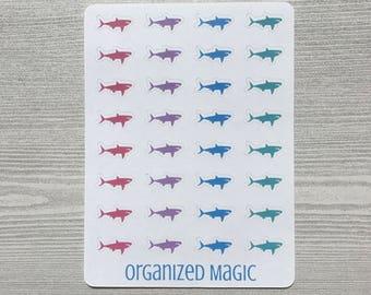 shark planner stickers, shark stickers, sea life stickers, ocean stickers, rainbow sharks
