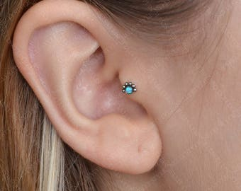Surgical Steel Tragus Earring with Opal stone - works as nose stud, cartilage earring, conch piercing