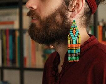 Massive colorful beaded earrings