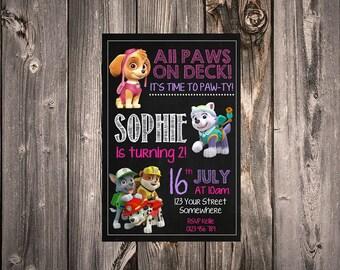 Girls Paw Patrol Invitation: Digital File, print yourself