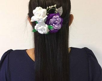 Rose Flower Hair Comb, Purple White Flower Comb, Rose Flower Decorative Comb