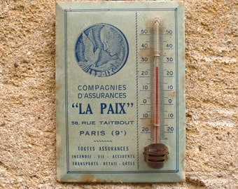 A rare French vintage centigrade advertising thermometer 1930s