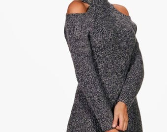 Cold Shoulder Cut Out Knitted Dress - Acrylic Turtleneck Knit Dress