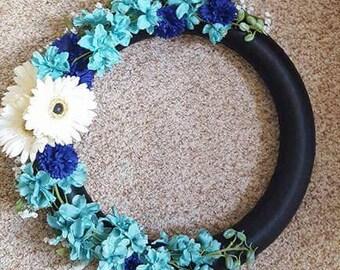 Flowered Thin Blue Line Wreath