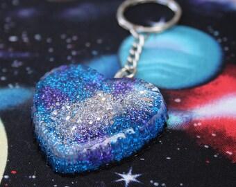 Kawaii Space Galaxy Heart Keychain