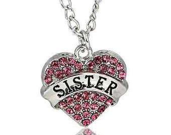 Sister Necklace Red Crystal Heart Charm Show your love for your Sister