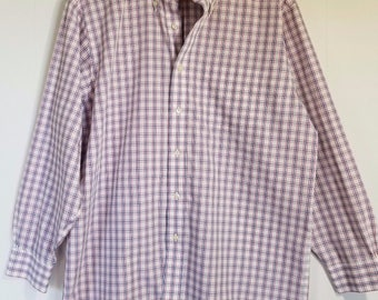 Vintage Brooks Brothers Red Blue White Plaid Button Down Shirt 16 2/3