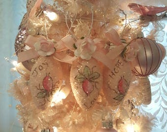 Vintage Christmas Lightbulb Ornaments - Shabby Chic Pink with Roses Set of 3