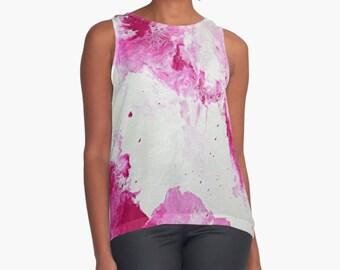 Original Art Print Contrast Tank Top Shirt - Large Raspberry