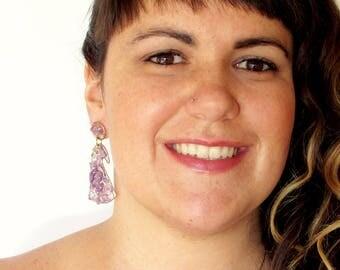 "Beautiful purple ""Cisne"" earrings made of bronze and amethyst"