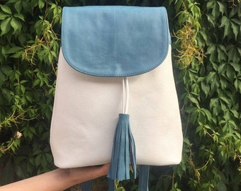 Leather Blue Backpack, Leather Backpack
