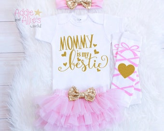 Baby Girl Clothes, Take Home Outfit, Mommy is my bestie, Baby girl outfit, Take Home Outfit, Baby Girl Shower Gift, Mommy's Girl, G4BP