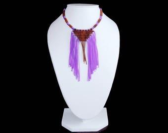Woven Leather Necklace. Fringed necklace. Leather. Macrame ethnic necklace. Leather necklace. Handmade. Boho. Chic. Hippie.  Fringe necklace