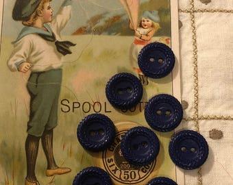 Vintage Buttons - Royal Blue Plastic Buttons Set of 8