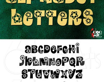 Soccer Sport Alphabet SVG DXF Vector Cut Files Monogram Font Cuttable Letters Vinyl Iron On Heat Press Transfer Silhouette Cricut JB-803