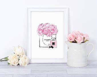 Watercolour Chanel Bag Flowers Perfume Wall Print - Wall Art, Bedroom Print, Minimalist Print, Personal Print, Home Decor, Chanel Print