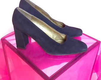 Stuart Weitzman blue suede covered block heels 10