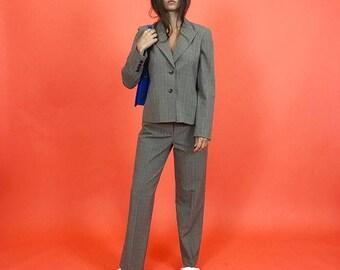 Gray glen plaid suit M
