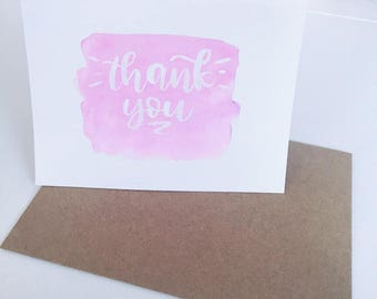 Thank You Watercolor Handmade Card (with envelope)