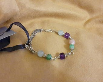 Bracelet with Rose Quartz, aquamarine, Amethyst, Participantses,