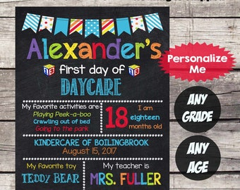 First Day of DAYCARE Sign - First Day of School sign First Day of School Chalkboard Printable Personalized Back to School Sign ANY GRADE  #7