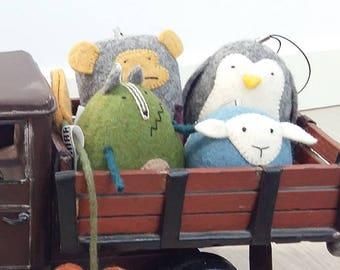 Cute adorable plushies of natural felt - 100% sheep wool - monkey, sheep, Penguin, Wolf - kids decor - five