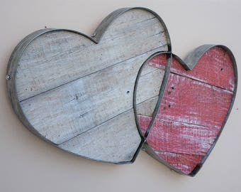 Recycled Wine Barrel Metal Hoops - Connected Hearts - Wall Art