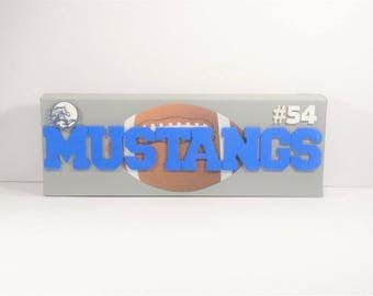 School Sports - Fun design for an athlete or sports fanantic to display on a shelf or wall.  Totally customizable for school, mascot, etc.