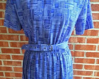 Vintage 80s Leslie Fay purple and gray pattern dress. Size 10