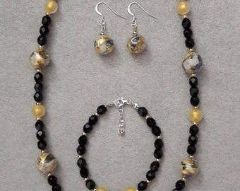 Murano Gold necklace, bracelet and earrings