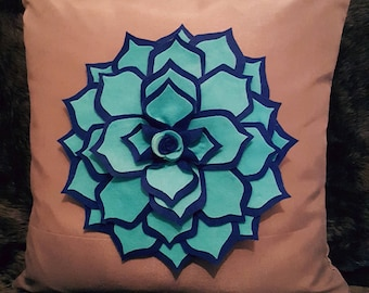 Designer, 3D Luxury Blue Flower/Petal Decorative Cushion Cover, Throw Pillow
