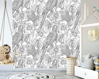 removable wallpaper for coloring mural peel stick for kids and adults parrots and tropical flowers - Coloring Book Wallpaper
