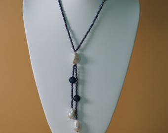 Chic Handmade Gem and Pearl Necklace