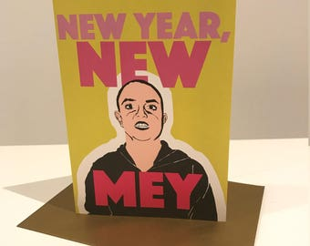 "Bald Britney Spears Card - ""New Year, New Mey"" Greeting Card"