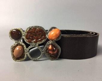 Gemstone Belt Buckle Vintage Belt Brown Belt Waist Belt Genuine Leather Belt Leather Custom Belt 90s Belt Womens Belt Stone Buckle Boho Belt