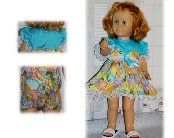 "Pretty Easter Eggs, Clothes only, Chatty Cathy Doll not included. Easter Egg Dress & Underwear fit 20"" tall vintage toy talking dolls."