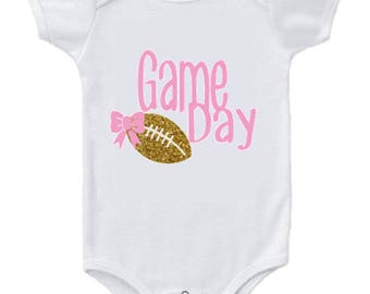 Baby Girl Clothing, Game Day Bodysuit, football onesie, game day onesie, pink football onesie