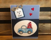 Loads of Love Valentine Card, Stamped Pick Up truck hauling Hearts, Tag and Twine Embellishment