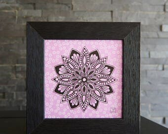Mandala on a traditional japanese paper / washi / Purple paper / Original drawing / Art / Meditative / Mandala gift