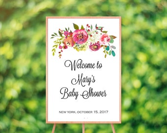 Baby shower welcome sign, baby shower sign, floral baby shower welcome sign, printable sign,custom welcome sign,bridal shower sign printable