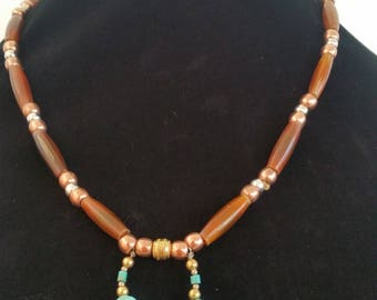 Bone Necklace / Brown Necklace / Choker / Copper Beads / Cowboy Jewelry / Turquoise / Y Necklace / Native Inspired / Magnet