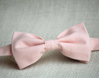 Blush Pink Bow Tie, Boys Bow Ties, Men's Bow tie, blush pink wedding accessory, light pink bow tie