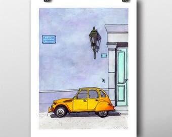 Yellow 2CV car fine art giclée print, hipster illustration, art print, urban art, cityscape drawing, vintage retro hipster home decor