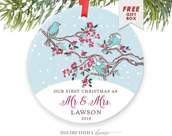 First Married Christmas Ornament, Just Married Ornament Married Wedding Christmas Gift, Personalized Christmas Ornaments Wedding Ornament