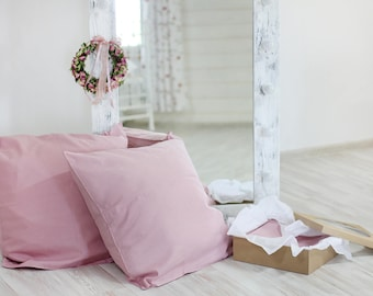 Linen pillowcase Pink pillow Pillowcases Linen shams Linen pillow case Rustic bedding Bed linen Pillow shams Linen pillow Linen pillow
