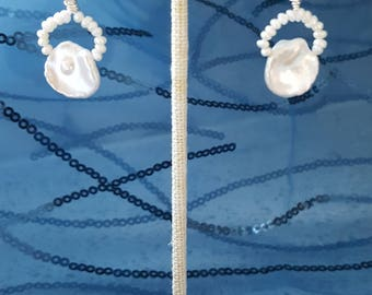 Fresh Water Pearl Earrings in Color White