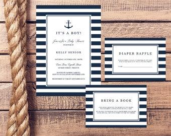nautical baby shower invitation set template download anchor baby shower invitations navy blue baby boy shower