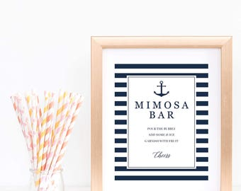Mimosa Bar Sign Printable Baby Shower Nautical Birthday Party Decor Anchor Bridal Shower Decor Navy Blue Stripes DIY Momosa Bar Sign pdf NS1