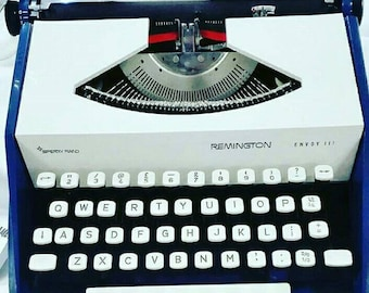 1960s Remington Sperry Rand Typewriter, Vintage, Retro, Blue White, Made in Holland